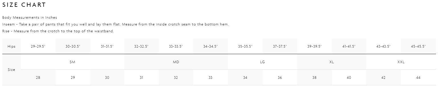 Boardshort Size Chart